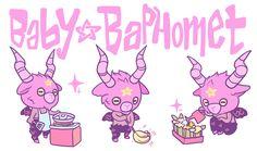 "raspbeary: ""baby baphomet doing some work around the house """