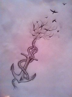 Anchor/bird tattoo by hogusia.deviantart.com on @DeviantArt