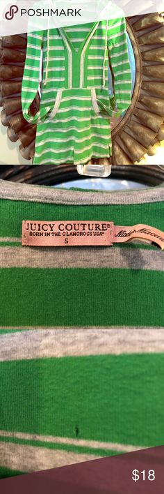 Juicy Couture hooded shirt-disclosure noted Juicy Couture hooded green & grey striped shirt. Kangaroo style. Slight tear on back where I caught it on a hanger but not visible when worn because the hood covers it. Very comfortable & stylish! Juicy Couture Tops Sweatshirts & Hoodies