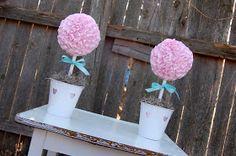 Babies Brides and Birthdays: Valentine+Ruffled+Ribbon+Topiary.JPG (1600×1064)