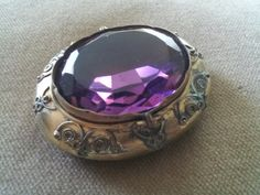 Antique Victorian Brass and Amethyst Glass Pill Box, Trinket Box