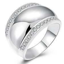 IVYRISE Stylish 925 Sterling Silver Brilliant Zircon Hollow Style Elegant Silver Ring Size 8