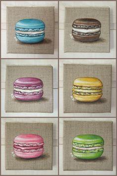 Peinture Macaron sur toile de lin (fraise/rose)