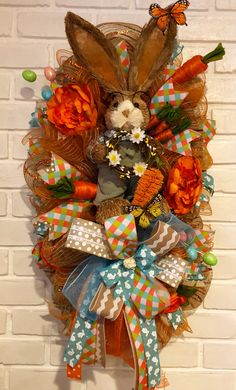Fansi 1 PC Fashion Easter Bunny Wreath Scarecrow Hand-woven Creative Colorful Rabbit Doll Easter Wreath Decoration Pink