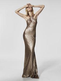 Длинное золотистое вечернее платье GRECIA без рукавов | Pronovias