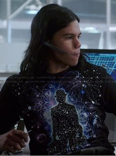 Cisco's space graphic tee on The Flash.  Outfit Details: http://wornontv.net/38358/ #TheFlash So... You guys like Once Upon A Time, The Flash, DW, and Arrow? Awesome!, because this website has Clara's outfits from Doctor Who, Iris's dresses from The Flash, and many more TV shows! Go check it out.
