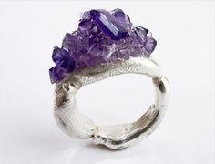 Freeform ring with crushed Amethyst by Kelvin J Birk