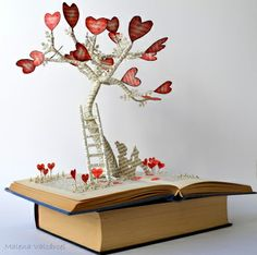 The Tree of Love – Book Art – Book Sculpture – Altered Book – Mothers Day The Tree of Love Book Art Book Sculpture by MalenaValcarcel Folded Book Art, Paper Book, Book Folding, Paper Art, Cut Paper, Wire Crafts, Diy And Crafts, Paper Crafts, Mothers Day Book