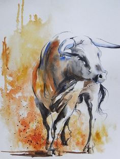 """""""toro"""" aquarelle Anne Larose"""