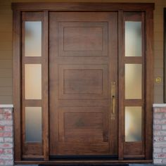 Custom Knotty Walnut Entry Door with 2 sidelights