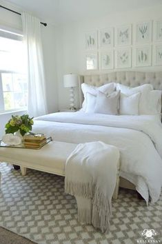 Kelley Nan: Guest Bedroom Reveal: The White Room- White Guest Bedroom Transformation with Pottery Barn Linen Bedding and Fern Botanical Gallery Wall above bed #bachelorettebedroomideas