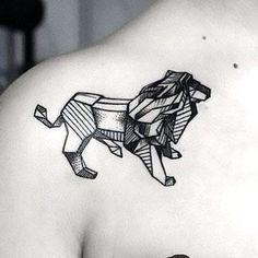 Amazing Geometric Lion Tattoo Idea