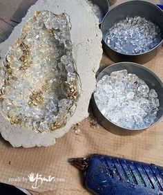 DIY Giant Concrete Geode - Made By Barb - Simple step by step instructions to cast, paint and add crystals to create huge geodes and gem artifacts