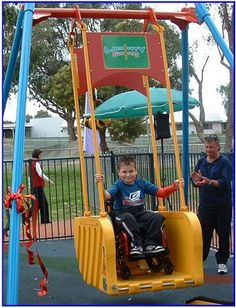 The Liberty Swing makes the classic heart-fluttering feeling of a playground swing available to those with disabilities as well...it accommodates all sorts of wheelchairs and also has a fold-down seat and seatbelt for users who are not in a wheelchair. Since it can take up to 550 pounds, adults can use it too