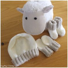 Lazy Days Sundays: Bootees, Mittens Hat months) in DK Baby Knitting Patterns Free Newborn, Baby Hat And Mittens, Newborn Knit Hat, Baby Cardigan Knitting Pattern Free, Baby Hat Patterns, Baby Hats Knitting, Mittens Pattern, Crochet Baby Booties, Baby Bootees