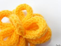 Sunshine Yellow French Knitted Flower Hair Clip/Grip by ElistonButton on Etsy #handmade