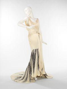 Silk evening dress, ca 1933