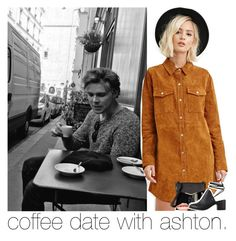 """""""coffee date with ashton."""" by sydneykhall ❤ liked on Polyvore featuring Forever 21, French Connection, MDMflow, Marc Jacobs, Smashbox and Nly Shoes"""