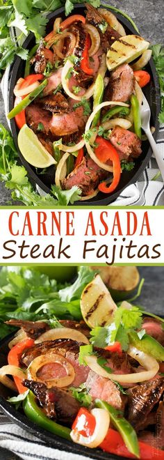 Carne Asada Steak Fajitas | Tender marinated carne asada steak, grilled until charred on the outside, and tossed with grilled peppers and onions for the most delicious steak fajitas! | http://thechunkychef.com