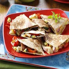 Roasted Veggie Quesadillas Recipe -I am always looking for recipes that will encourage students to eat vegetables and this one has been a huge success. You can also use other vegetables, such as mushrooms, eggplant, asparagus and broccoli. Just remember to roast your vegetables before making the quesadillas. —Kathy Carlan, Canton, Georgia