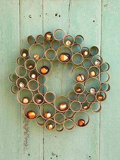 Kid Christmas Party craft Idea Honeycomb Wreath