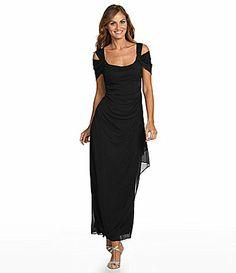 Alex Evenings ColdShoulder Mesh Gown #Dillards   Wish it wasn't black
