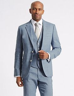 Linen Miracle Tailored Fit 3 Piece Suit