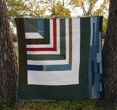 Miter Strip Quilt by Maura Grace Ambrose. Hand quilted with pure cotton Japanese Sashiko thread, natural cotton batting, hand-stitched binding, x Flying Geese Quilt, Cross Quilt, Modern Color Palette, Striped Quilt, World Crafts, Hand Quilting, Textile Art, Quilt Patterns, Screen Printing