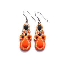 Orange Black and Peach Earrings, Dangle Earrings, Statement Light Long Fimo Earrings, Summer Holiday Earrings, Teardrop Geometric Earrings