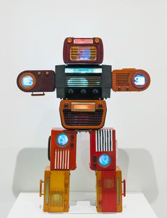 Nam June Paik robot sculpture made of vintage radios with TV screens