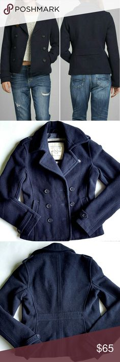 """Abercrombie and Fitch Peacoat 80% wool 20% nylon with 100% cotton body lining. Double breast button closure, two side pockets and one Secret pocket inside.  16"""" shoulder to shoulder, 19"""" armpit to armpit,  22.5"""" long shoulder to bottom hem, sleeves are 26"""" long.  Worn a handful of times, in great condition. Abercrombie & Fitch Jackets & Coats Pea Coats"""