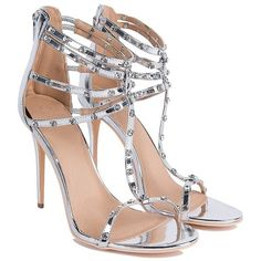 Multiple Bling Straps Sexy Heeled Sandals (€16) ❤ liked on Polyvore featuring shoes, sandals, heels, high heeled footwear, high heel shoes, strap heel sandals, ankle strap high heel sandals and sexy high heel sandals