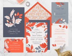 The Paper Raven Co. Autumn Harvest Suite features hand-drawn pastoral fall foliage, delicate leaves and rustic acorns. While we love this vibrant autumn red and misty blue color way, all colors in thi
