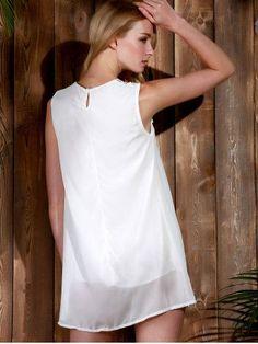 WHITE Lace Panel Chiffon Casual Summer Short A Line Dress L
