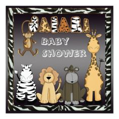 Cute Safari Animals Neutral Baby Shower Personalized Invite