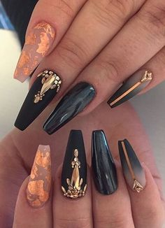 Acrylic Nail Designs Ideas Picture acrylic nails the newest acrylic nail designs ideas are so Acrylic Nail Designs Ideas. Here is Acrylic Nail Designs Ideas Picture for you. Acrylic Nail Designs Ideas 101 cool acrylic nail art designs and ideas. Acrylic Nail Art, Acrylic Nail Designs, Acrylic Nails For Fall, Pointy Acrylic Nails, Halloween Acrylic Nails, Gold Nail Art, Black Nail Art, Cute Halloween Nails, Halloween Coffin