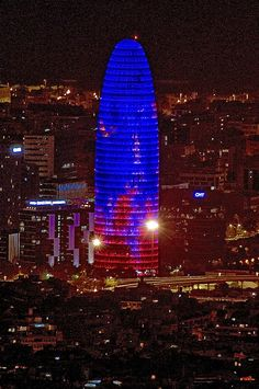 Colours on the night - Torre Agbar, Barcelona, Catalonia