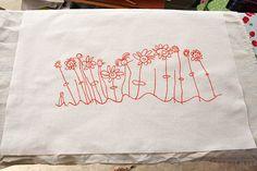 Child's drawing on tea towel tutorial