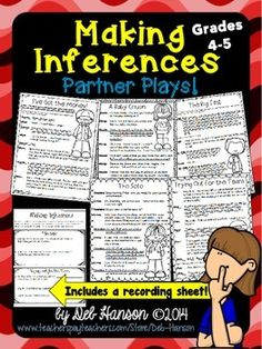 These five partner plays are intended as fluency-building activities for fourth and fifth grade students.  This set focuses on the additional skill of making inferences, and includes a bonus worksheet.  $