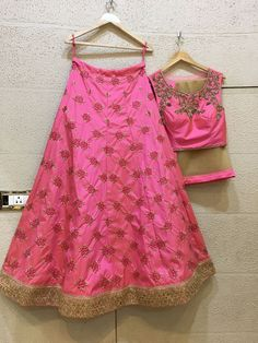 Siya Fashions Fully Stitched Baby Pink Lehenga In Silk Pink Lehenga, Bridal Lehenga, Lehenga Choli, Gold Embroidery, Indian Embroidery, Indian Wear, Indian Outfits, Indian Fashion, Designer Dresses
