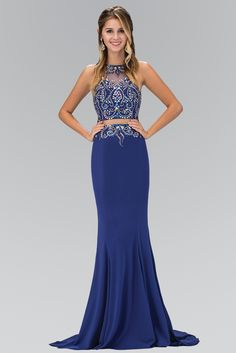 Beaded Illusion Bodice cut out back prom & evening gown 103-GL1338