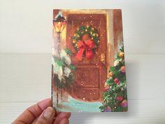 VINTAGE CHRISTMAS CARD, Vintage card for Christmas, card with wreath, pretty Christmas card, color Christmas card, vintage paper ephemera
