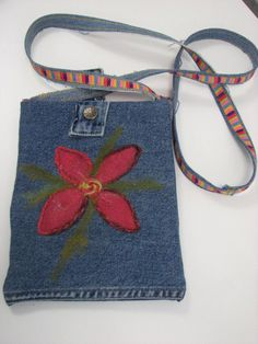 Denim Upcycled  Denim, Small Cross-Body, Hip Bag with Felted design and Jeans Button Closure on Etsy, $27.83