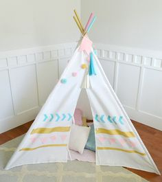 Southwest DIY Teepee by Aly Dosdall for We R Memory Keepers Diy Teepee, Diy Tent, Kids Tents, We R Memory Keepers, Diy For Girls, Decoration, Baby Kids, Kids Room, Toddler Bed