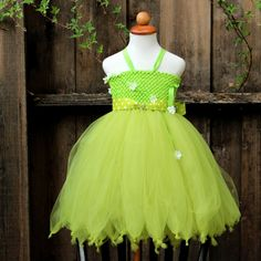 Tinkerbell Tutu Dress garden fairy costume by BloomsNBugs on Etsy, $70.00