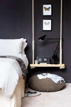 DIY swing as bedside table bedroom black walls Home Bedroom, Bedroom Decor, Bedroom Ideas, Bedroom Apartment, Bedroom Designs, Bedroom Swing, Bedroom Fun, Bedroom Interiors, Bedroom Night