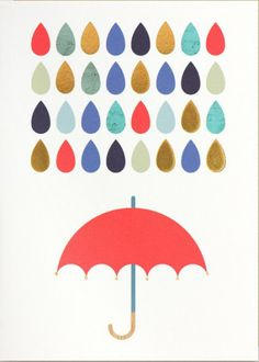Postcard - Colorful rain