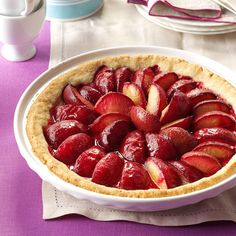 German Plum Tart Recipe -The buttery crust of this fruit-filled treat melts in your mouth. You can substitute sliced apples or peaches for the plums with great results. I've used this crust with blueberries, too. —Helga Schlape, Florham Park, New Jersey