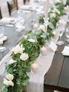 9 Stunning Greenery Wedding Ideas romantic greenery wedding centerpieces for rustic budget weddings, garden weddings. Green Wedding Centerpieces, Wedding Reception Table Decorations, Long Table Centerpieces, Wedding Arrangements, Centerpiece Ideas, Flower Centerpieces, Casual Wedding Reception, Wedding Ideas, Wedding Venues