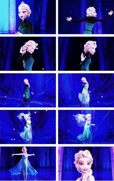 Elsa's transformation- Secretly, this happens to me as well every time I perform onstage. I transform into something powerful and beautiful, no matter what character I'm playing. I 'let it go', so to speak. I think that's why I love Elsa's character so much. I see a bit of myself through her.